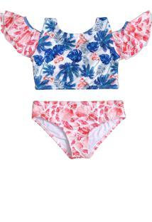 Biquíni Banho Maria Infantil Babado Cuba Flamingo Beach Branco
