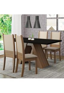 Conjunto Sala De Jantar Madesa Kiara Mesa Tampo De Madeira Com 4 Cadeiras - Rustic/Preto/Crema/Bege Marrom - Marrom - Dafiti