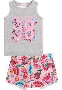 Conjunto Infantil Regata E Short Floral Momi Feminino - Feminino-Cinza+Rosa 5b8b7b32e3d5a