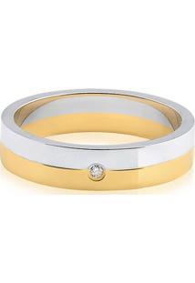 Aliança De Casamento Ouro Branco E Amarelo Com Diamante (4Mm)