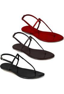 Kit 3 Sandálias Flat Rasteira Mercedita Shoes - Feminino-Preto
