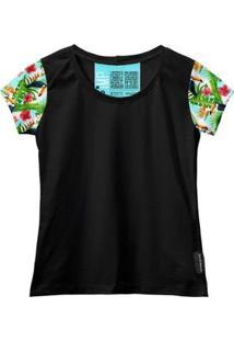 Camiseta Baby Look Feminina Algodão Estampa Animal Estilo - Feminino-Verde+Preto