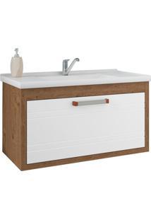 Gabinete De Banheiro Jade 1 Pt 1 Gv Amêndoa E Branco 79 Cm