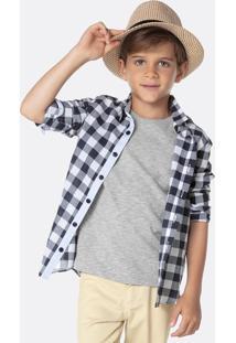 Camisa Infantil Menino Manga Longa Xadrez