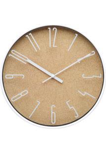 Relógio De Parede Light Wood Style- Branco & Bege- Øurban