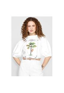Camiseta Colcci Mangas Bufantes Branca