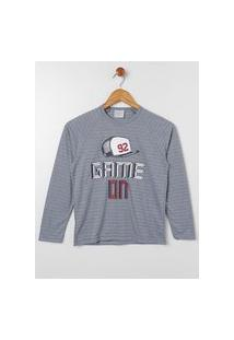 Pijama Longo Juvenil Para Menino - Cinza