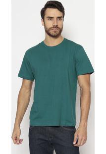 Camiseta Slim Lisa Com Bordado - Verde - M. Officerm. Officer
