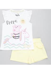 Conjunto Infantil Peppa Pig De Regata Off White + Short Com Babado Amarelo