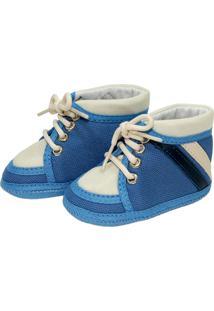 Tênis Cano Alto Confort Sapatinhos Baby Azul E Bege