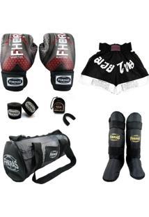 Kit Muay Thai Top Fheras Luva Bandagem Algodão Bucal Caneleira Shorts Bolsa -08 Oz Iron - Unissex