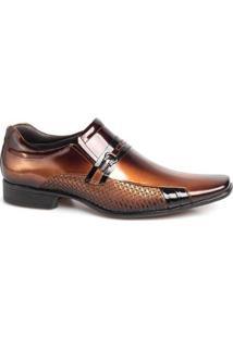 Sapato Social Rafarillo Masculino Couro Verniz Bico Quadrado - Masculino-Castanha