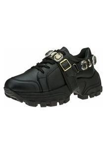 Tênis Sneaker Gigil Chunky Pedraria Preto