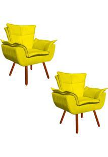 Kit 02 Poltrona Decorativa Opala Suede Amarelo - D'Rossi
