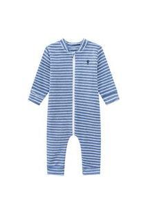 Macacáo Pijama Em Plush Buckle Listrado Azul Açucena M Azul