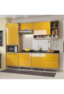 Cozinha Compacta 11 Portas Sicília Com Tampo 5809 Amarelo/Argila - Multimóveis