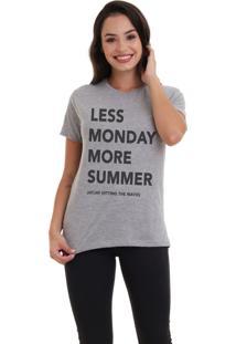 Camiseta Jay Jay Básica Less Monday Cinza Mescla Dtg