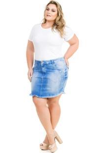 139d304e9 Saia Confidencial Extra Plus Size Jeans Com Elastano Feminina - Feminino