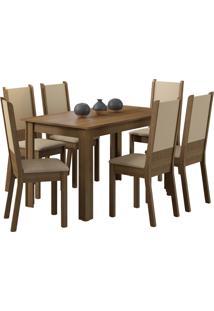 Sala De Jantar Madesa Tábata E 6 Cadeiras Marrom