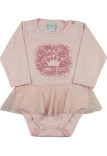 Body Infantil Suedine E Renda Daddys Princess Ano Zero Feminina - Feminino