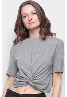 Camiseta Colcci Detalhe Transpassado Feminina - Feminino-Chumbo