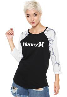 1571aff388 Camiseta Hurley Logo Raglan Preta