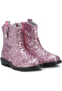 Monnalisa Ankle Boot Com Glitter - Rosa
