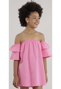 Vestido Ombro A Ombro Com Babados Pink