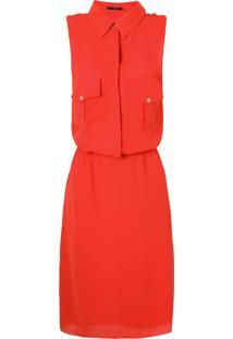 Vestido Bolso Botões Leeloo - Vermelho