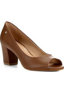 Peep Toe Shoestock Salto Bloco Naked Feminina - Feminino-Avelã