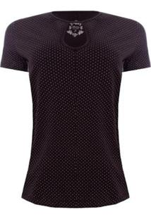Camiseta Aleatory Mini Print Feminina - Feminino-Preto