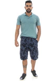 Bermuda Sarja Areia Branca Cargo 6 Pockets Camuflada Azul