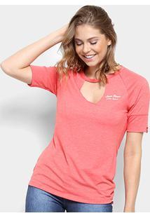 Camiseta Coca-Cola Mescla Recorte Feminina - Feminino-Vermelho