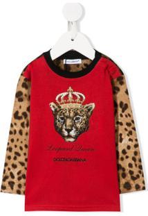 Dolce & Gabbana Kids Moletom Leopard Queen - Vermelho