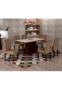 Conjunto De Mesa De Jantar Luna Com Vidro E 6 Cadeiras Ane I Suede Animalle Castor E Branco