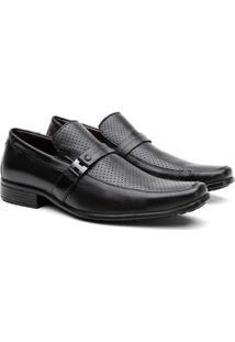 Sapato Social Hshoes Couro Bico Quadrado Conforto Macio Masculino - Masculino-Preto
