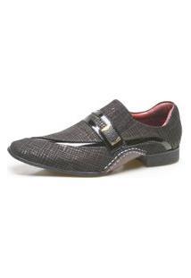 Sapato Social Masculino Calvest Em Couro Com Textura Tear - 1930D425-Preto