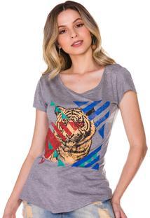 T-Shirt Rosa K Leão Cinza