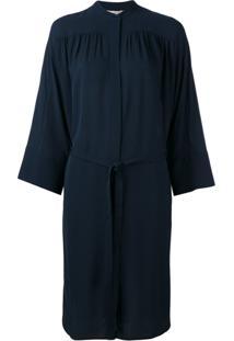 Vince Vestido De Seda Com Cinto - Azul