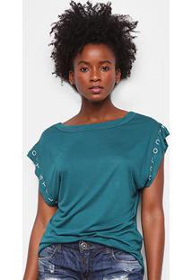 Camiseta Colcci Lettering Feminina - Feminino-Musgo