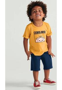 Conjunto Curto Infantil Menino Com Estampa Turma Da Mônica Hering Kids