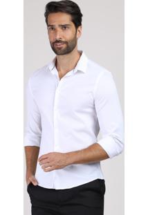 Camisa Masculina Super Slim Manga Longa Branca