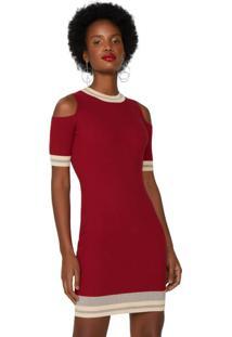 Vestido Ombro Aberto Com Detalhe De Nylon