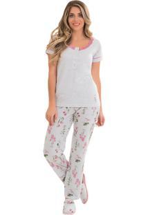 Pijama Toque Intimo Com Peitilho Floral Botânico Mescla