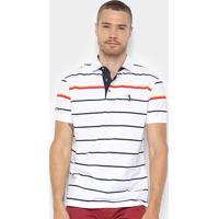 8c12827a45c2e Camisa Polo Aleatory Fio Tinto Listrada Masculina - Masculino-Branco+Marinho