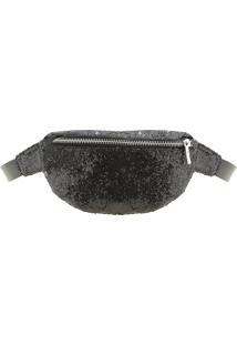 Bolsa Pochete Com Brilho Preta - 95Cm