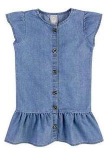 Vestido Jeans Infantil Com Botões Toddler Hering Kids Azul