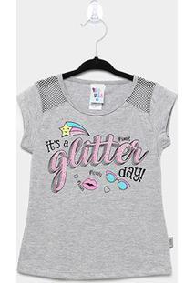 Blusa Infantil Pulla Bulla Glitter Feminina - Feminino-Mescla