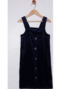 Vestido Salopete Veludo Juvenil Para Menina - Azul