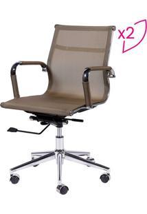 Jogo De Cadeiras Office Eames Em Tela- Cobre & Prateado
